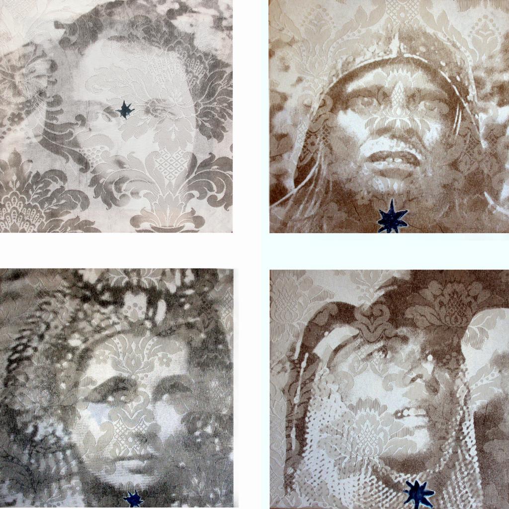 8 -    modulo di 4 cine sacro maria di ppp, aguire kinski, liz cleopatra, giovanna bergman- 2004 - stampa manuale su damasco - cm 27x27