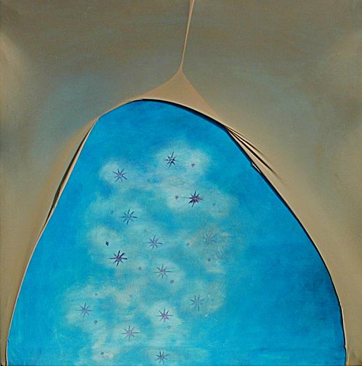 cielo calze - 2001 - olio su tela, collant - cm 90 x 90a