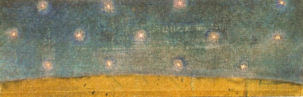 cielo totem orizzontale -  1999 - olio su iuta - cm 50 x 200