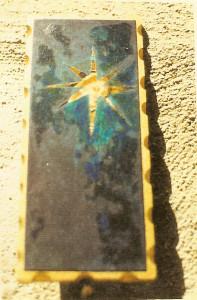 cielo vergine - 2000 - olio su legno stampato - cm 20 x 8