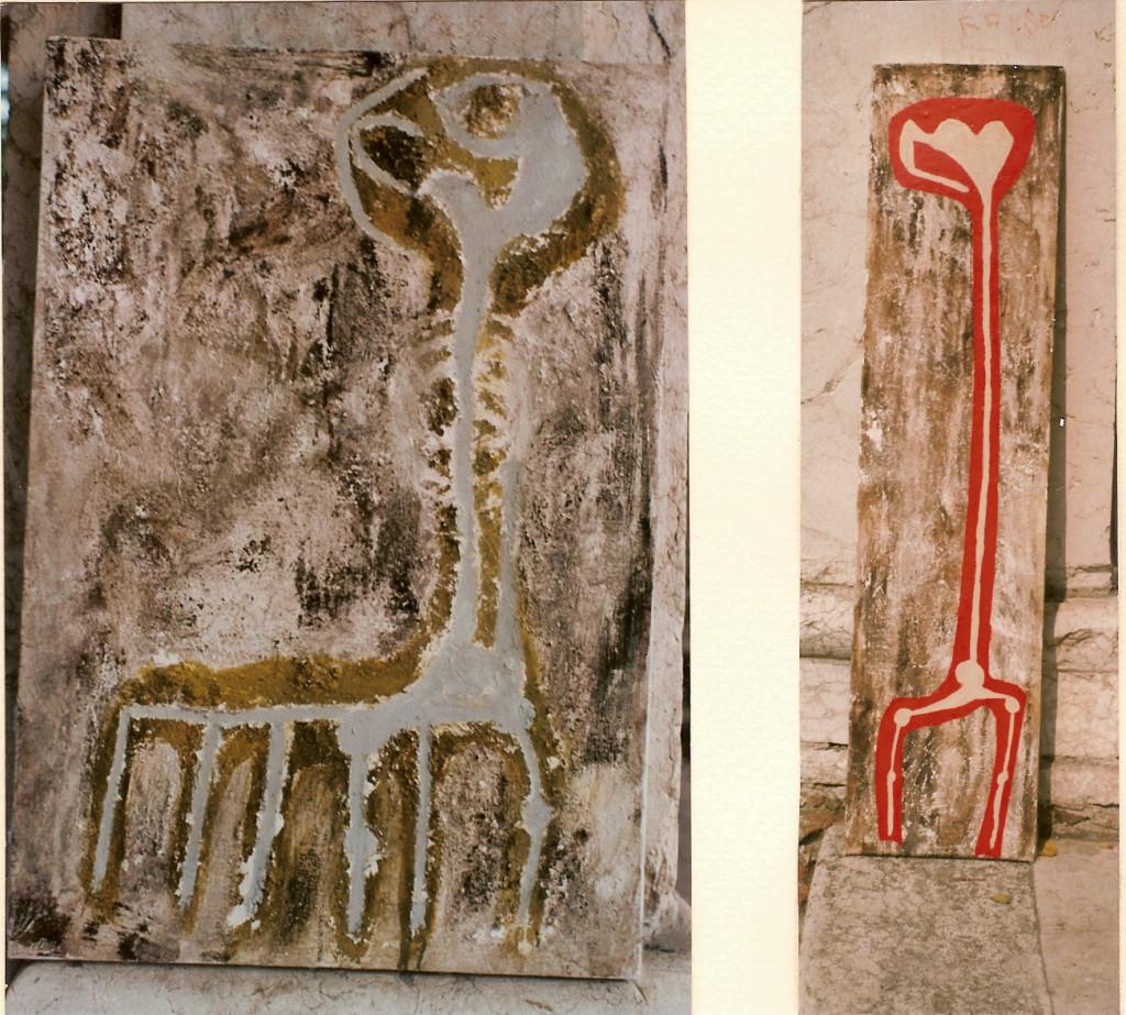 primitivo 1 e 2 - 1995 -  terra, colla, catrame, acrilico e smalto su tela