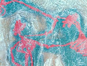 primitivo di isacco, abramo e l' angelo - 2000 - terra, sabbia, polvere di marmo, colla, acrilico, smalto - cm 50 x 50