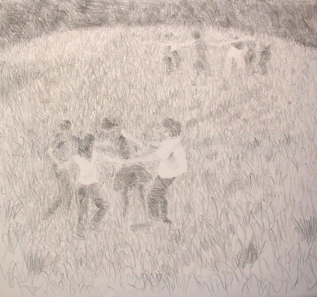1-casca il mondo(girotondo)-2008 grafite su tela-80x80cm.