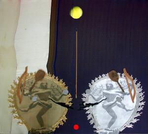 15-2 nataraja-2010-transfert, colla vinilica, legno, stoffe-palle-80x80cm.