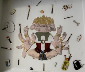 15-gayatri e hanuman giuochi di pittura-2010-transfert, colla vinilica,impregnante,catrame, legno, stoffe-300x200cm.