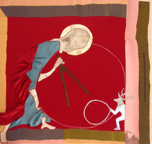 15a-gesù pressocratico vs giotto-2010-transfert, colla vinilica, legno, stoffe-130x130cm.