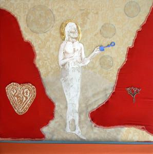 15b-gesù giuoca alle bolle di sapone-2010-transfert, colla vinilica,smalto e ricamo su stoffe 35x35cm