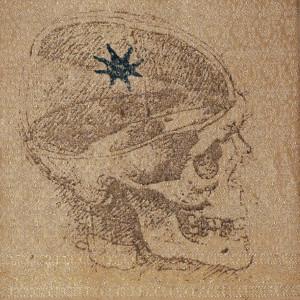 teschio di leonardo - 2004 - stampa manuale suseta indiana - cm 35 x 35